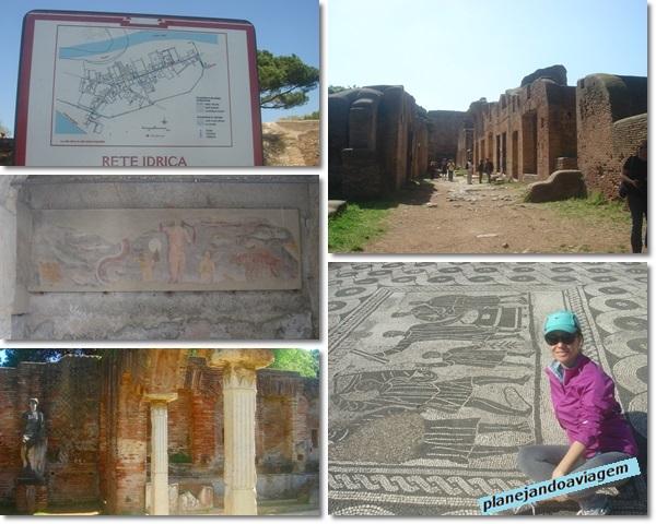 Ostia Antica - rede hidrica, afrescos, esculturas, mosaicos e ruas