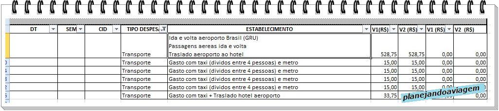 Detalhe do tipo de despesa transporte durante orçamento