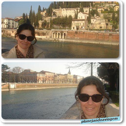 Rio Adige com Castelo San Pietro ao fundo (acima) e Torre San Tommaso ao fundo (abaixo)