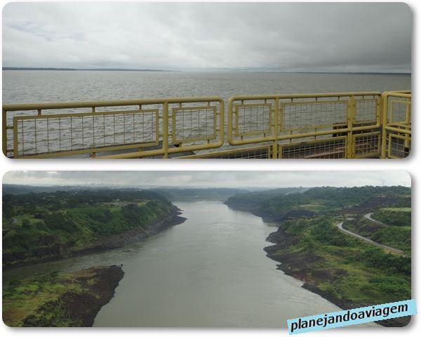 Reservatorio Itaipu (acima) e Rio Parana (abaixo)