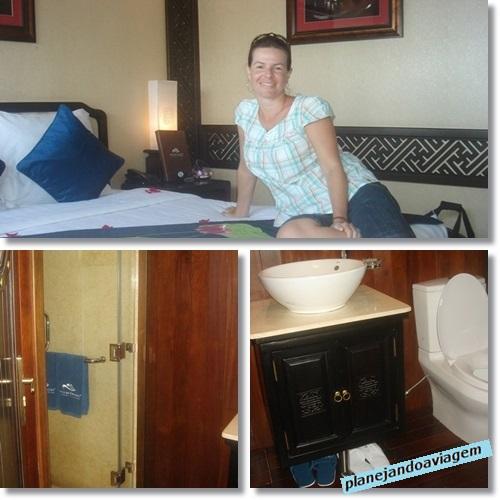 Cabine e Banheiro Paradise Cruises Halong Bay