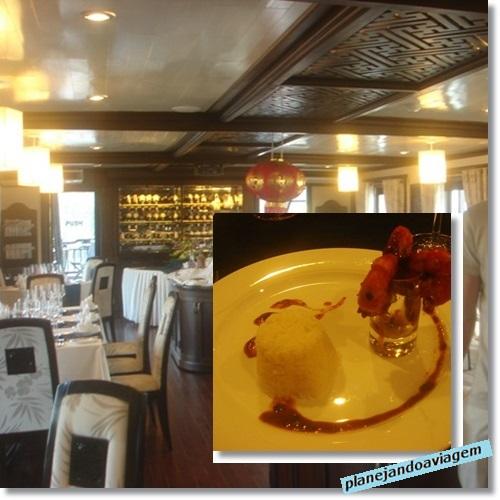 Sala de Refeições e Jantar no Paradise Cruise em Halong Bay