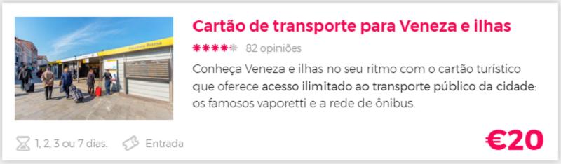 Compra cartão turistico de Veneza com a Civitatis