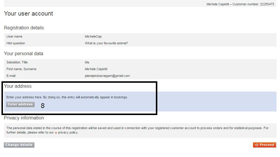 Tela de confirmação e alteração dos dados de cadastro (endereço)