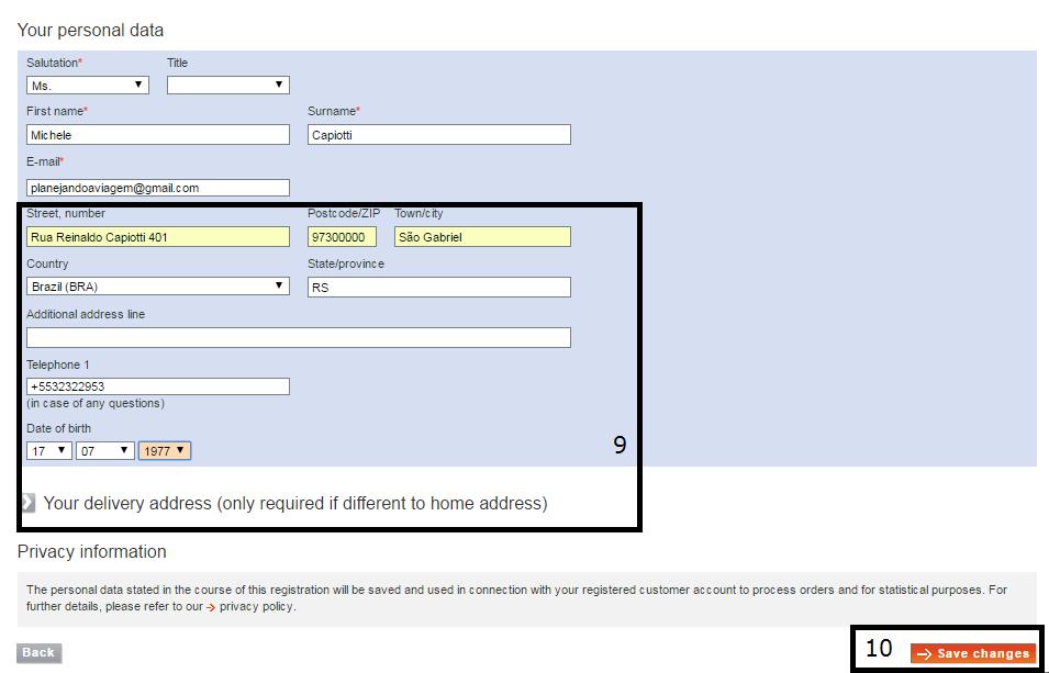 Tela de alteração dos dados de endereço