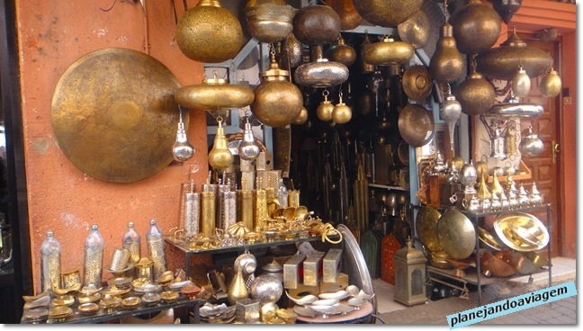 Lojas artesanatos marroquino na Medina