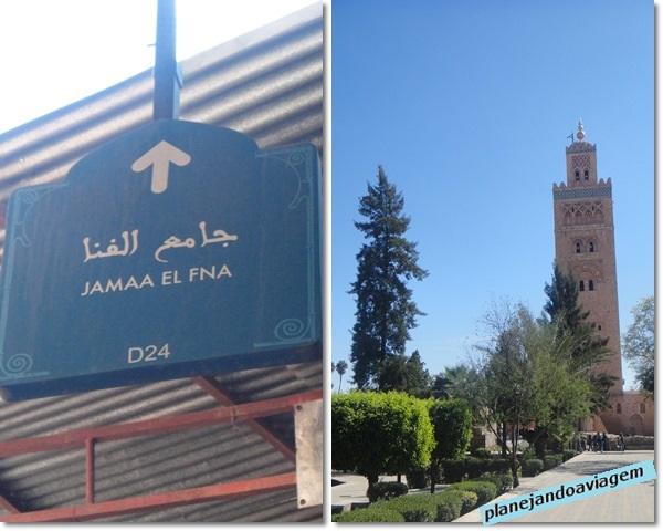 Mesquita e Minareto em Koutoubuia placa em Marrakesh