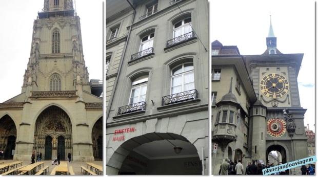 Berna - Catedral (Munster), Casa de Einstein e Torre do Relogio no momento das badaladas