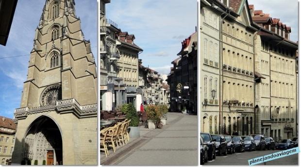 Fribourg - Catedral medieval, casas e praça