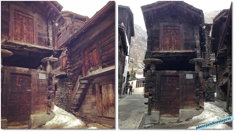 Casas histórcias em Zermatt (Hinterdorfstrasse)