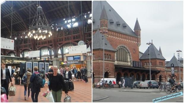Estacao Ferroviaria Central de Copenhagen fachada e interior