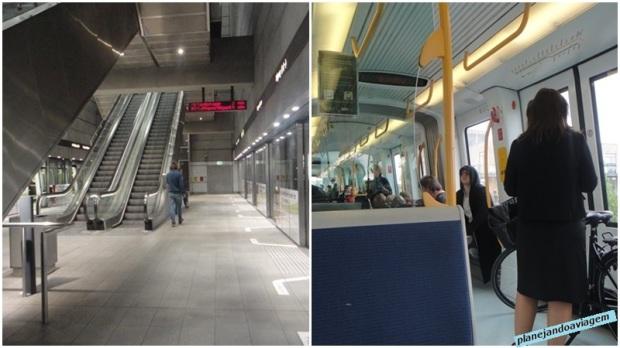 Estacao e trem do metro em Copenhagen