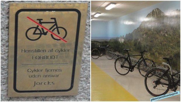 Estacionamento de bikes no metro e placa na cidade