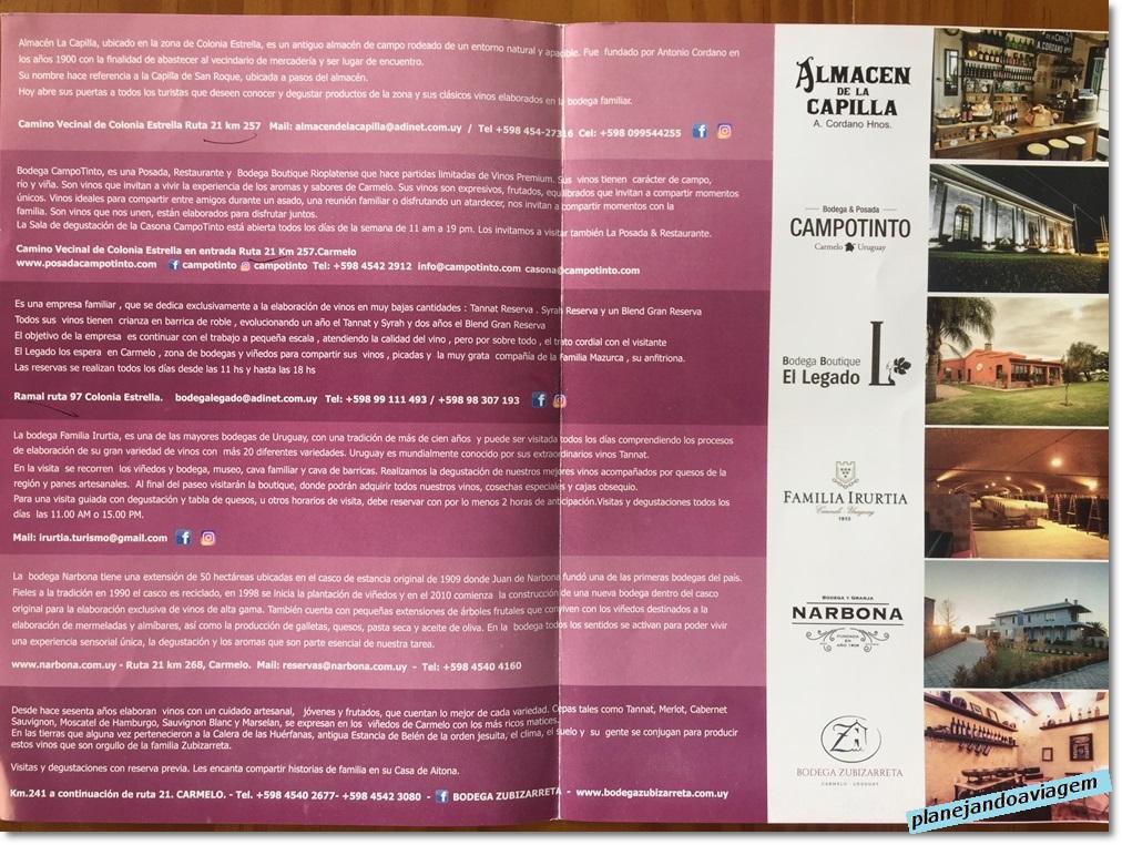 Lista de Vinicolas/Bodegas na Rota do Vinho em Carmelo