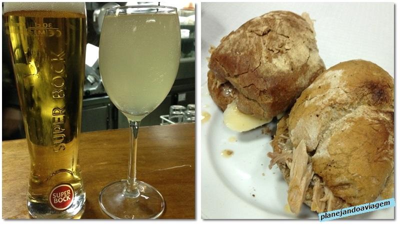 Sanduiche e bebidas na Casa Guedes no Porto