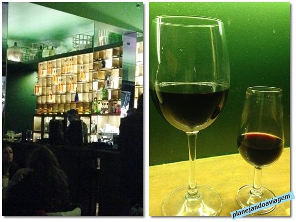 Interior do Bar Destilaria e taças de vinhos (Douro e Porto)