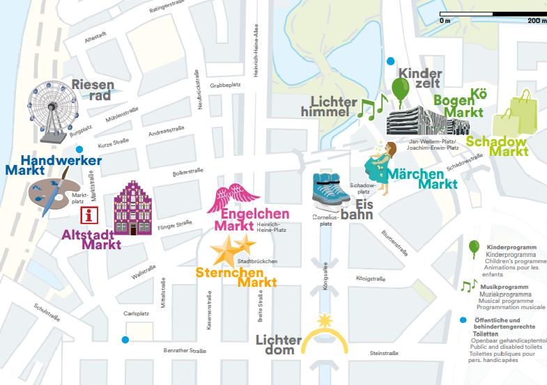 Mapa pontos turisticos e mercados natalinos em Dusseldorf