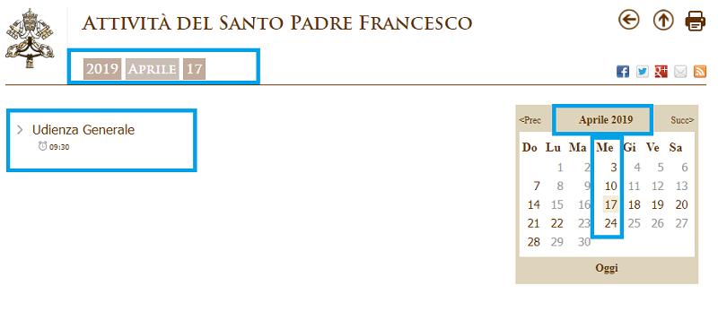 Agenda Audiencia Papal em Roma