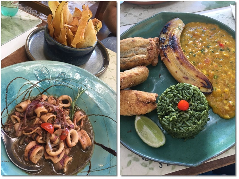 Pratos restaurante Taioba em Camburi