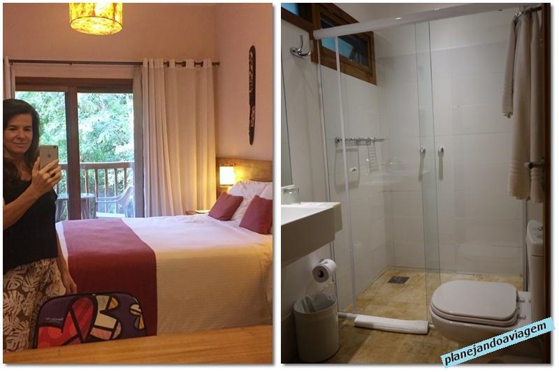 Kalango Hotel Boutique em Ilhabela - detalhes quarto, sacada e banheiro