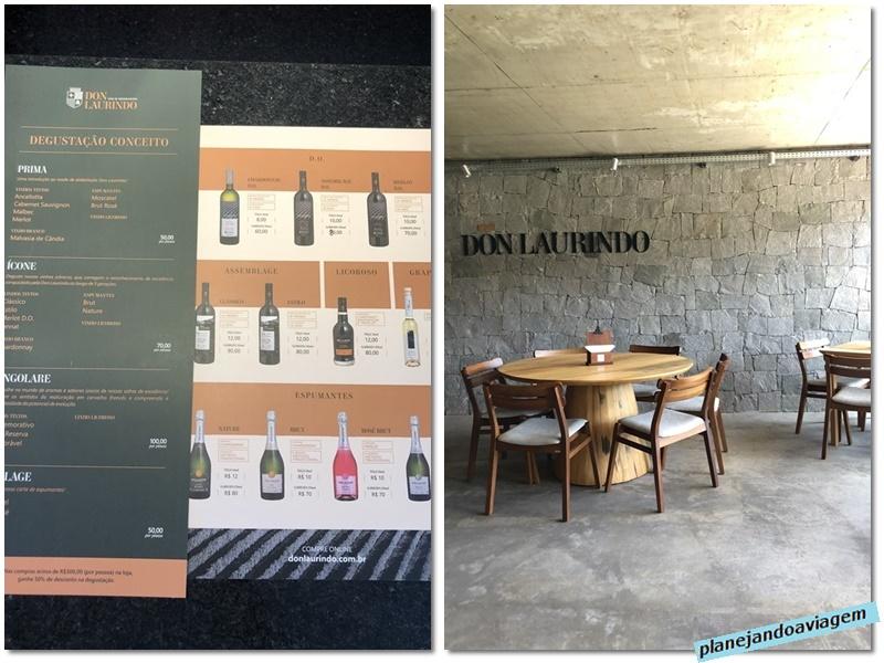 Vinicola Don Laurindo - loja e cardapio degustacao