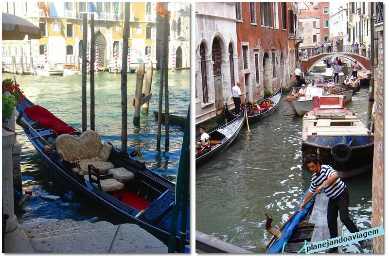 Gondolas e Gondoleiros em Veneza