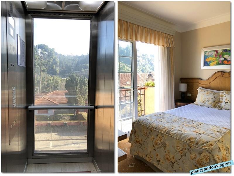 Campos do Jordao - Hotel Italia Eleganza - elevador panoramico e quarto com varanda