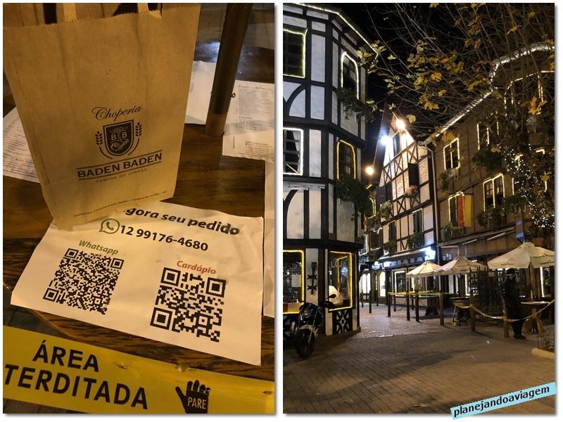 Campos do Jordao - Bourlevard Geneve à noite e prato para viagem da Baden Baden