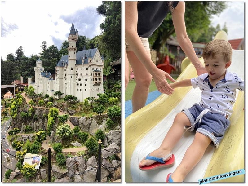 Mini Mundo - Miniatura Castelo Neuschwansteincae Escorrega no Parquinho
