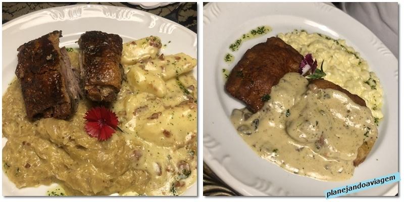 Restaurante Hoppner - principais (eisbein e schnitzel)